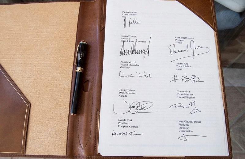 firma documneto congiunto G7 Taormina