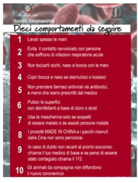 opuscolo coronavirus Ministero Sanità