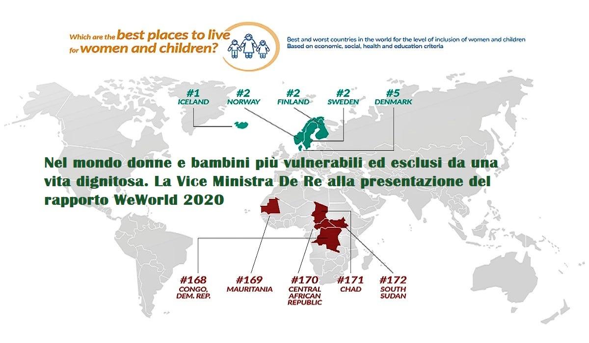 Due paesi su tre donne e bambini esclusi da una vita dignitosa. WeWorld 2020 analizza 172 Paesi nel mondo compresa l'Italia